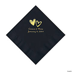 Black Hearts Personalized Napkins with Gold Foil - Luncheon