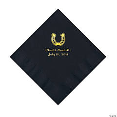 Black Horseshoe Personalized Napkins with Gold Foil - Luncheon