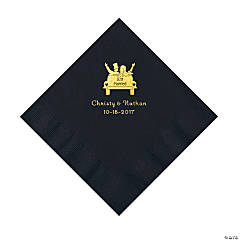 Black Just Married Personalized Napkins with Gold Foil - Luncheon