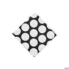 Black Large Polka Dot Beverage Napkins