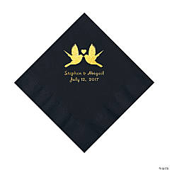 Black Love Birds Personalized Napkins with Gold Foil - Luncheon