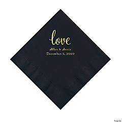 Black Love Script Personalized Napkins with Gold Foil - Luncheon