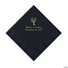 Black Love Tree Personalized Napkins with Gold Foil - Luncheon