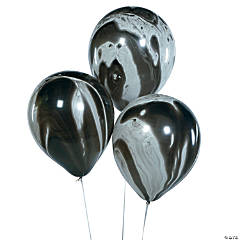 "Black Marble 11"" Latex Balloons"