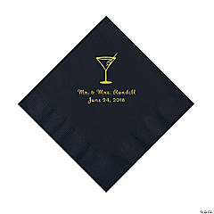 Black Martini Glass Personalized Napkins with Gold Foil - Luncheon