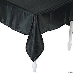 Black Metallic Polyester Tablecloth - 60