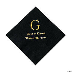 Black Monogram Wedding Personalized Napkins with Gold Foil - Luncheon