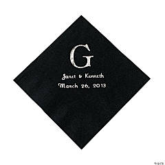 Black Monogram Wedding Personalized Napkins with Silver Foil - Luncheon