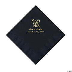 Black Mr. & Mrs. Personalized Napkins with Gold Foil - Luncheon