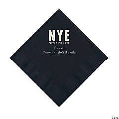 Black New Year's Eve Personalized Napkins with Silver Foil - Luncheon