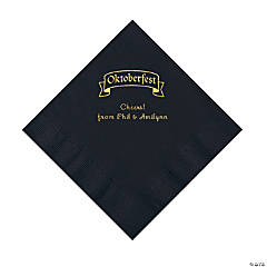 Black Oktoberfest Personalized Napkins with Gold Foil – Luncheon