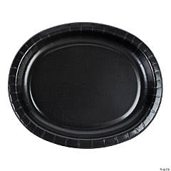 Black Oval Paper Dinner Plates