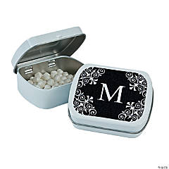 Black Personalized Monogram Mint Tins
