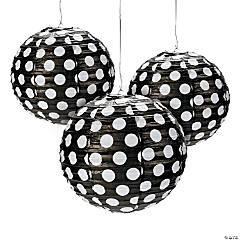 Black Polka Dot Hanging Paper Lanterns