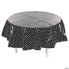 Black Polka Dot Round Plastic Tablecloth