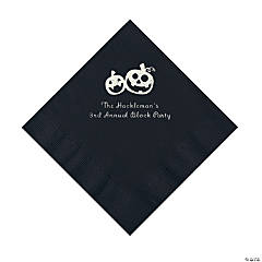Black Pumpkin Personalized Napkins with Silver Foil – Luncheon
