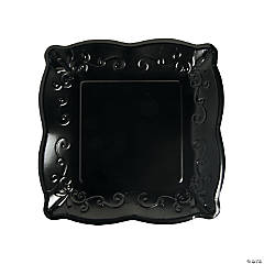 Black Scalloped Edge Paper Dinner Plates