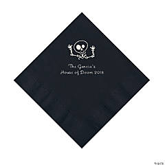 Black Skeleton Personalized Napkins with Silver Foil - Luncheon