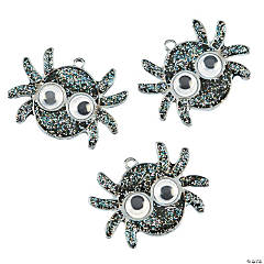 Black Spider with Googly Eyes Pendants