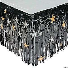 Black Table Skirt with Star Cutouts