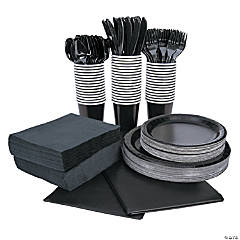 Black Tableware Party Pack for 48