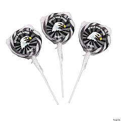 Black Team Spirit Custom Photo Swirl Lollipops