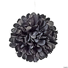Black Tissue Paper Pom-Pom Decorations
