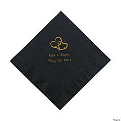 Black Two Hearts Personalized Napkins with Gold Foil - Luncheon
