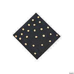 Black Velvet & Gold Foil Polka Dot Beverage Paper Napkins