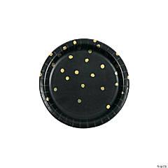 Black Velvet & Gold Foil Polka Dot Paper Dessert Paper Plates