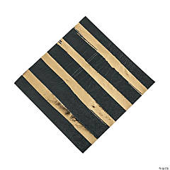 Black Velvet & Gold Foil Striped Luncheon Paper Napkins