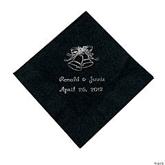 Black Wedding Bell Personalized Napkins with Silver Foil - Beverage