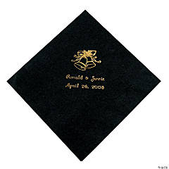 Black Wedding Personalized Luncheon Napkins with Gold Print