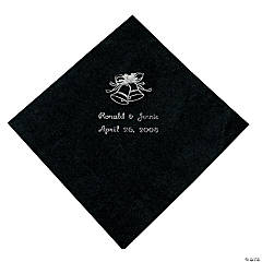 Black Wedding Personalized Luncheon Napkins with Silver Print
