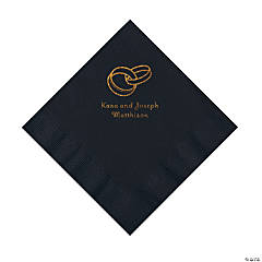 Black Wedding Ring Personalized Napkins with Gold Foil - Luncheon