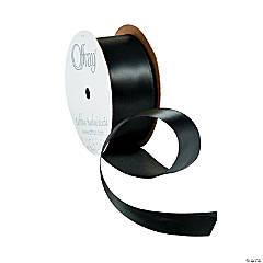 Black Wired Satin Ribbon - 1 1/2