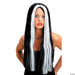 Black With White Streak Wig