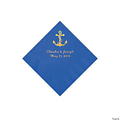 Blue Anchor Personalized Napkins with Gold Foil - Beverage