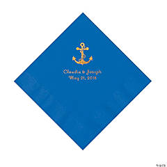Blue Anchor Personalized Napkins with Gold Foil - Luncheon