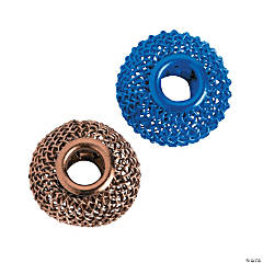 Blue & Brown Mesh Large Hole Beads - 16mm