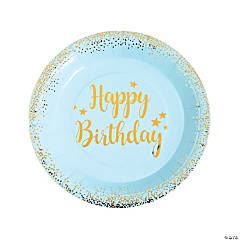 Blue & Gold Birthday Paper Dinner Plates