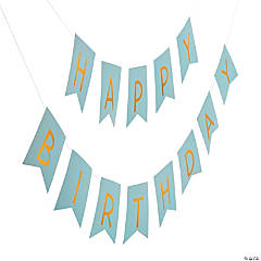 Blue & Gold Happy Birthday Garland