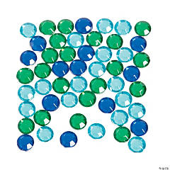 Blue & Green Faceted Round Gems