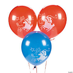 Blue & Red  Cowboy Latex Balloons