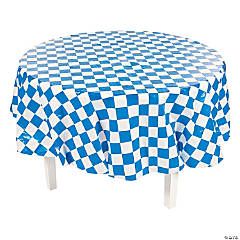 Blue & White Checkered Round Plastic Tablecloth