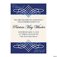 2014 Blue & White Personalized Graduation Invitations