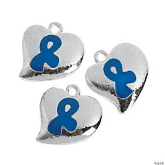 Blue Awareness Ribbon Heart-Shaped Charms