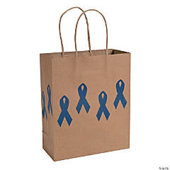 Blue Awareness Ribbon Kraft Paper Bags