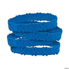 Blue Awareness Ribbon Pop-Out Rubber Bracelets