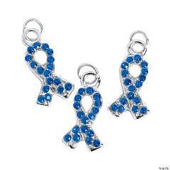 Blue Awareness Ribbon Rhinestone Charms